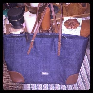 NWT BEBE BLUE JEAN & BROWN LEATHER SHOPPING TOTE !